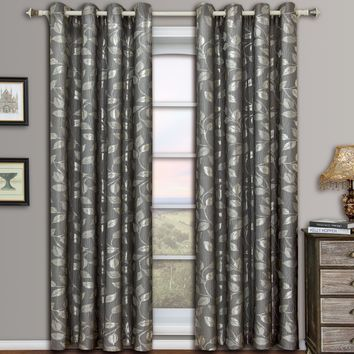Gray Charlotte Pair (Two Panels ) Jacquard Grommet Curtain Panels