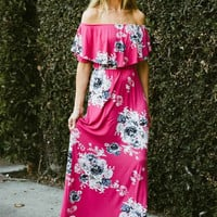 Off Shoulder Floral Maxi Dress - Pink