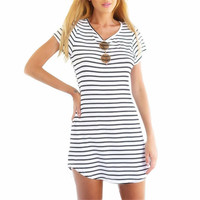 SALE Neck Short Sleeve Striped Loose T-Shirt Mini Dress Sundress Plus Size