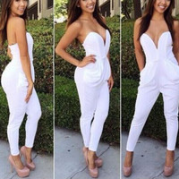 FASHION CUTE DEEP V JUMPSUIT High Quality