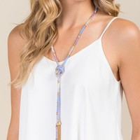 Abigail Beaded Tassel Necklace in Periwinkle