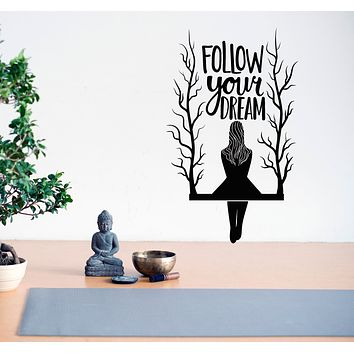 Vinyl Wall Decal Follow Your Dream Girl on the Tree Branch Swing Stickers Mural 28.5 in x 17.5 in gz153