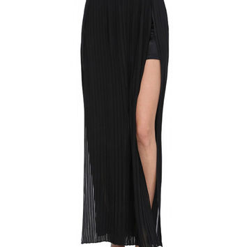 Ruched Cut-Out Maxi Chiffon Skirt