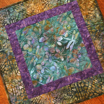 Dragonfly Table Topper, Quilted Batik Table Topper, Dragonflies, Aqua Teal and Purple, Batik Candle Mat