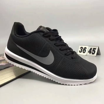 """NIKE"" Fashion Casual Leather Surface Breathable Holes Thick Bottom Unisex Sneakers Couple Running Shoes"