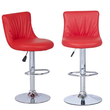 Adeco Red Hydraulic Lift Adjustable Puckered Leatherette Barstool Chair Chrome Finish Pedestal Base (Set of two)