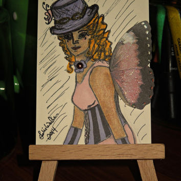ACEO Steampunk Fairy SFA Art Trading Card
