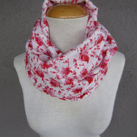Floral Infinity Scarf - Rose Print Scarf - Red, Pink and White Floral Print Circle Scarf