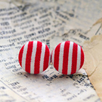 Red Striped Fabric Button Earrings, Fabric Button Earrings, Candy Cane Stripes, Christmas Earrings, Nautical Earrings, Party Favors