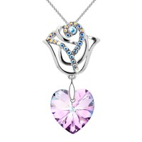Valentines Day Gifts 'Rose Flower' Pendant Necklace With Pink Swarovski Crystal, Jewelry for Women Gifts for Mom