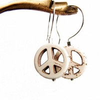 Peace Signs Cream Sterling Silver Earrings | RoxAndThings - Jewelry on ArtFire