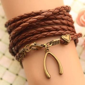 wishbone bracelet,retro love heart Pandora bead Multilayer bracelet,SUPER COOL,brown l