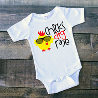 CHICKS DIG ME- bodysuit or tshirt, baby boy, stud, handsome, newborn boy, toddler boy, Easter, chick, toddler