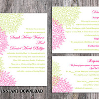 DIY Wedding Invitation Template Set Editable Word File Download Printable Floral Invitation Dark Pink Wedding Invitation Green Invitations