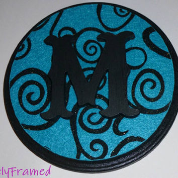 Monogram Wood Plaque with Initial and Turquoise Black- Wall Hanging