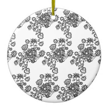 Monochrome Girly Lace Pattern Ceramic Ornament