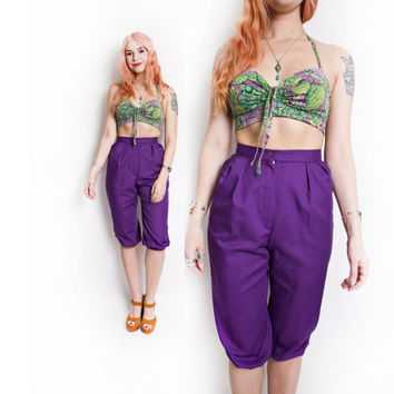 Vintage 1960s Dress - High Waisted Purple Capri Pants 60s - Extra Small xs