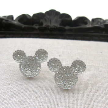Mickey Mouse Disney Inspired Clear Silver Rhinestone Post Earrings