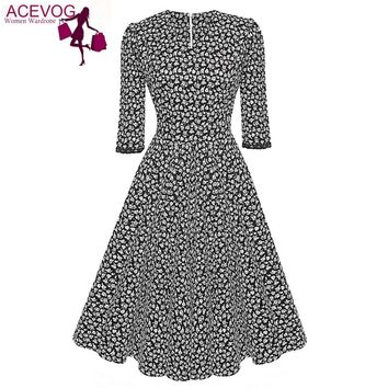 ACEVOG Brand 1950s Dress Autumn Spring 3/4 Sleeve Women Fashion Elegant Vintage Rockabilly Floral Swing Party Dresses 4 Styles