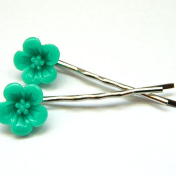 Bobby Pins Flower Hibiscus Teal Blue Rockabilly by PushTheButtons