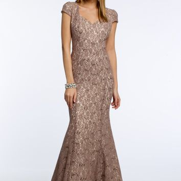 Allover Lace Two-Toned Cap Sleeve Dress