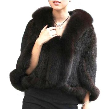 Winter Ladies' Genuine Knitted Mink Fur Shawls Fox Fur Collar Women Fur Pashmina Wraps Bridal Cape Coat Jacket