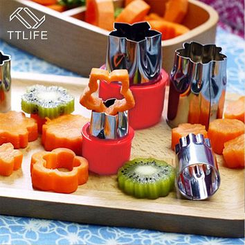 TTLIFE 8pcs/Set Flower Star Shape Vegetable Fruit Cutter Slicer Stainless Steel Shredder Cake Cookie cutter Sushi Biscuit mould