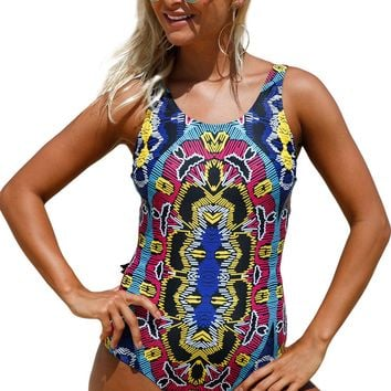 Moroccan Dreams Tribal Print One Piece Swimsuit LAVELIQ