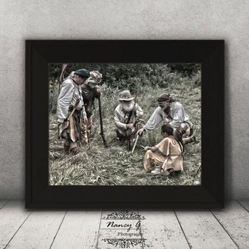 Fur Trappers Print, Vintage Print, Living Room Art, Historical Print, Reenactment, Wall Art, Gift Ideas, Country Decor, History Print