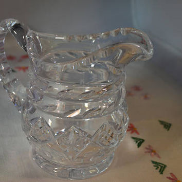 Pretty cut glass vintage jug/creamer/1950s cut glass / ships worldwide from UK