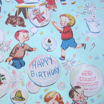 Vintage 1950s Children's Birthday Gift Wrap or 1980s Clown/Circus Gift Wrap - Aqua Blue Birthday Wrapping Paper - Rad Clown Gift Paper