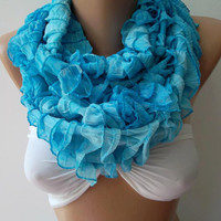 Infinity Scarf Loop Scarf Circle Scarf - Elegant - It made with good quality chiffon fabric.Super Loop Ruffle Scarf