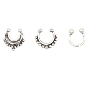 Silver Faux Septum Rings - 3 Pack by Charlotte Russe