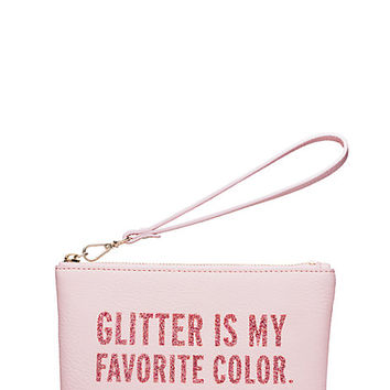 Kate Spade Glitter Is My Favorite Color Kerr Wristlet Bon Bon Pink ONE