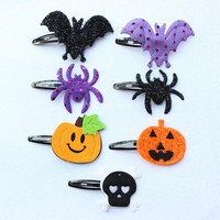 35pcs/lot Kawai Bat Pumpkin Skull Spider Metal hair clips headwear Halloween Decor Black,Yellow,Purple free shipping