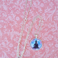 Buddha bohemian zen round glass dome necklace for kids, tween or teen girl