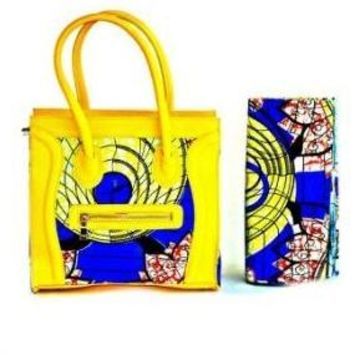 Designer African Wax Print Top Handle Bag Yellow