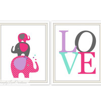 Elephant Prints - LOVE Print / Elephant Room Decor / Baby Girls Room / Nursery Wall Art / Girls Room Decor / Nursery Prints /
