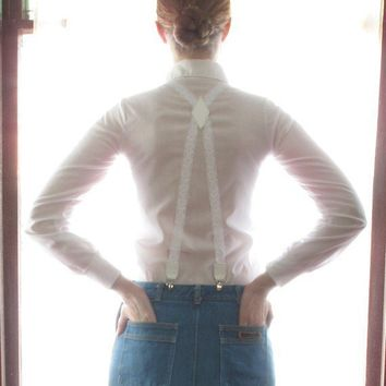 SWANclothing Lace Suspenders in White w White by SWANclothing