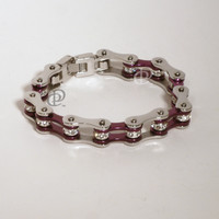 Stainless Steel Bicycle Chain Bracelet Purple Links Crystal Beads