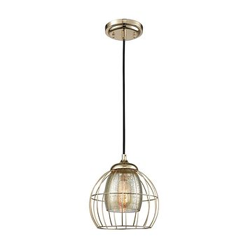 14265/1 Yardley 1 Light Pendant In Polished Gold With Mercury Glass
