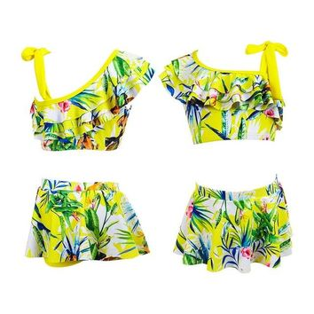 2 Two Piece Bikini Kids Bathing Suits Girls Two Piece Pleats Print Bikini children Skirt Swimwear for girl infant swimsuit girl child Summer bikini KO_21_2