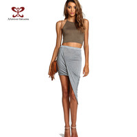 2016 Summer Women Skirt Hem Cross Fold Sexy Wrap Banded Waist Draped women skirt Cut Out Asymmetrical Pencil Skirts jupe XS-XXXL