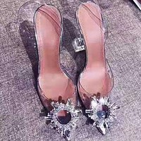 Fashion Shallow Drill Transparent PVC Tip Crystal Fine High-heeled Sandals