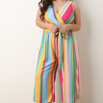 Colorful Striped Surplice Waist-Tie Sleeveless Jumpsuit | UrbanOG