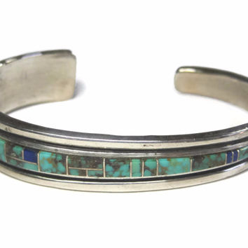 Vintage Navajo Turquoise Inlay Cuff Bracelet Sterling Rose Ann Long 6.5 Inches