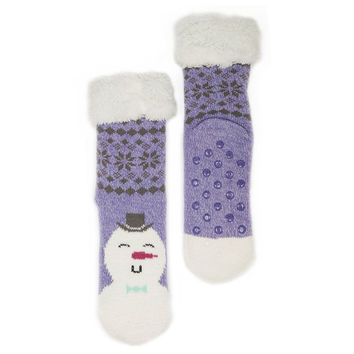 Faux Fur Fuzzy Winter Animal Socks with Grippers
