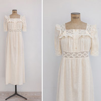 1970s Dress - Vintage 70s Cream Cotton & Crochet Maxi Dress - Summer Solstice Dress
