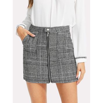 Zip Front Dual Pocket Plaid Skirt - Ships Free