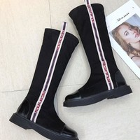 New Black Round Toe Chunky Print Fashion Knee-High Boots